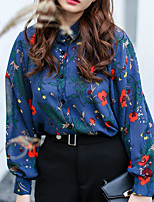 Women's Casual/Daily Simple Blouse,Print Shirt Collar Long Sleeves Cotton Others