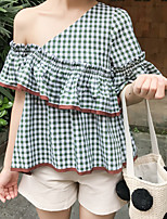 Women's Going out Cute Summer T-shirt,Houndstooth Off Shoulder Short Sleeve Silk Cotton Medium