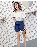 Women's Casual/Daily Simple Summer T-shirt Pant Suits,Solid Strap Short Sleeve