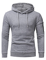Men's Casual/Daily Simple Hoodie Solid Hooded Micro-elastic Cotton Acrylic Long Sleeve Fall