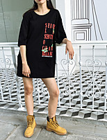 Women's Casual/Daily Simple T-shirt,Print Round Neck Short Sleeves Others
