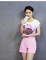 Women's Going out Casual/Daily Sexy Cute Spring Summer T-shirt Skirt Suits,Solid Print Color Block Round Neck Short Sleeve