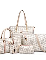 Women Bags All Seasons PU Bag Set 6 Pcs Purse Set Pattern / Print for Event/Party Casual Formal Office & Career Blushing Pink LightBlue