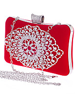 Women Bags All Seasons Polyester Evening Bag Rhinestone for Wedding Event/Party Formal Blue Gold Black Red Fuchsia