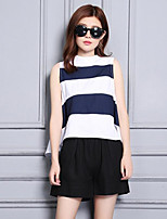 Women's Going out Casual/Daily Street chic Summer T-shirt Pant Suits,Striped Round Neck Sleeveless