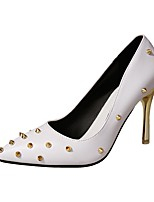 Women's Heels Light Soles PU Summer Dress Rivet Stiletto Heel Ruby Black White 2in-2 3/4in