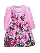Girl's Solid Floral Dress,Cotton Polyester Summer All Seasons Long Sleeve