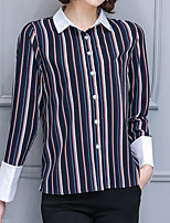 Women's Casual/Daily Simple Shirt,Striped Boat Neck Long Sleeves Nylon Others
