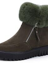 Damen Stiefel Springerstiefel Winter Wildleder Kleid Reißverschluss Blockabsatz Schwarz Armeegrün 7,5 - 9,5 cm