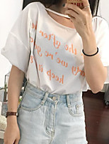 Women's Going out Cute T-shirt,Letter Round Neck Half Sleeves Others