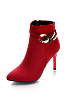 Women's Boots Comfort Fabric Spring Fall Casual Zipper Stiletto Heel Ruby Black 2in-2 3/4in