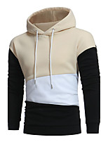 Men's Sports Casual/Daily Vintage Hoodie Color Block Patchwork Hooded Micro-elastic Cotton Acrylic Long Sleeve Fall Winter