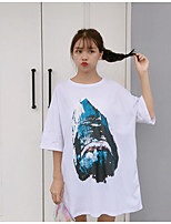 Women's Going out Cute T-shirt,Print Round Neck Half Sleeves Cotton