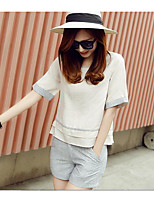 Women's Casual/Daily Simple Summer T-shirt Pant Suits,Solid Crew Neck Half Sleeves