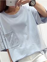 Feminino Camiseta Casual Simples Verão,Sólido Algodão Decote Redondo Manga Curta Média
