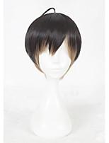 Perruque Synthétique Sans bonnet Court Raide Noir Faux Locs Wig Perruque de Cosplay Perruque Déguisement