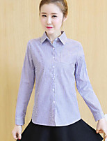 Women's Casual/Daily Simple Shirt,Striped Shirt Collar Long Sleeves Cotton