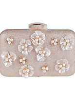 Women Bags All Seasons Polyester Evening Bag Appliques Sparkling Glitter Pearl Detailing for Wedding Event/Party Formal Apricot