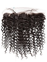 Tiefe Wellenspitze frontaler Verschluss brasilianisches remy Menschenhaar mit Babyhaar 130% Dichte mit vor gezupfter Haaransatz