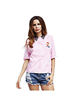 Women's Casual/Daily Simple Shirt,Solid Striped Print Shirt Collar Half Sleeves Cotton