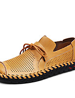cheap -Men's Shoes Real Leather Leatherette Spring Summer Comfort Loafers & Slip-Ons for Casual Dark Brown Yellow Black