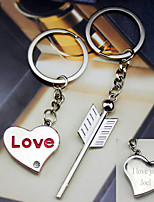 Material Keychain Favors-6 Pairs/Set  an Arrow on the Heart key Ring  Favors Personalized Silver
