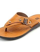 Men's Slippers & Flip-Flops Comfort Summer PU Casual Flat Heel Brown Yellow Flat