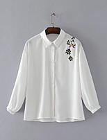 Camicia Da donna Per uscire Casual Sensuale Semplice Moda città Primavera Autunno,Tinta unita Ricamato Colletto Cotone Manica lunga
