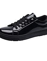 Men's Sneakers Comfort Spring Fall PU Casual Lace-up Flat Heel Black Gold Flat