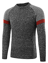 Men's Casual/Daily Work Simple Active Chinoiserie Regular Pullover,Solid Round Neck Long Sleeves Cotton Fall Winter Medium Micro-elastic
