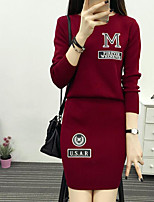 Women's Going out Club Simple Spring Fall Hoodie Skirt Suits,Solid Round Neck Long Sleeve