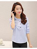 Camicia Da donna Casual Semplice A strisce Rotonda Cotone Manica lunga