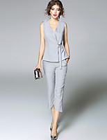 Women's Going out Simple Fall T-shirt Pant Suits,Solid Striped V Neck Sleeveless Micro-elastic