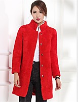 Women's Going out Casual/Daily Simple Fall Winter Fur Coat,Solid Stand Long Sleeve Long Faux Fur Acrylic