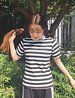 Women's Casual/Daily Simple T-shirt,Striped Print Letter Turtleneck Short Sleeves Cotton Others