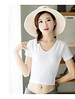 Women's Casual/Daily Sexy T-shirt,Solid V Neck Short Sleeves Cotton