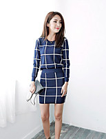 Women's Casual/Daily Simple Fall Winter T-shirt Skirt Suits,Plaid/Check Round Neck Long Sleeve