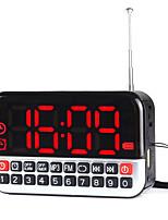 L-80 Rádio portátil Relogio Despertador Player MP3 Cartão TFWorld ReceiverPrata Vermelho Verde