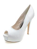 Women's Wedding Shoes Slingback Satin Summer Fall Wedding Party & Evening Dress Stiletto Heel Blue Black White 4in-4 3/4in