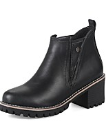 Women's Boots Comfort Bootie Fall Winter Leatherette Casual Dress Split Joint Chunky Heel Black Gray Brown Green 2in-2 3/4in