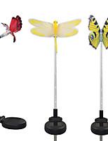 4PCS Stainless Steel 1-LED Solar Lawn Light Pathway Walkway Garden Lamp