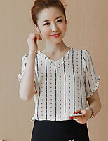 Women's Casual/Daily Simple Blouse,Striped V Neck Short Sleeves Polyester