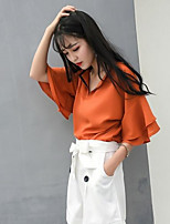 Women's Casual/Daily Simple Summer Blouse,Solid V Neck Short Sleeves Acrylic Medium