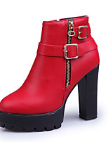 Women's Heels Walking Combat Boots TPU Fall Winter Party & Evening Zipper Block Heel Ruby Black 4in-4 3/4in