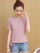 Women's Casual/Daily Simple T-shirt,Striped V Neck Short Sleeves Cotton