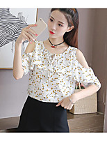 Women's Going out Sexy Blouse,Solid Polka Dot Print Round Neck Short Sleeves Cotton