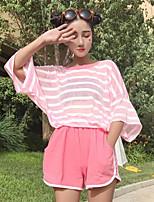 T-shirt Pantalone Completi abbigliamento Da donna Casual Semplice Estate,A strisce Rotonda Mezze maniche