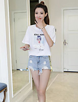 Women's Casual/Daily Cute T-shirt,Solid Print Round Neck Half Sleeves Cotton