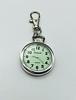 Herrn Damen Uhr mit Schlüsselanhänger Revers-Uhr Quartz Großes Ziffernblatt Legierung Band Silber