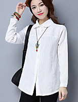 Women's Casual/Daily Simple Spring Shirt,Solid Shirt Collar Long Sleeves Acrylic Medium